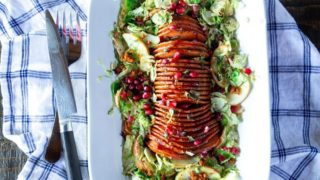 Pomegranate-Glazed Hasselback Butternut Squash