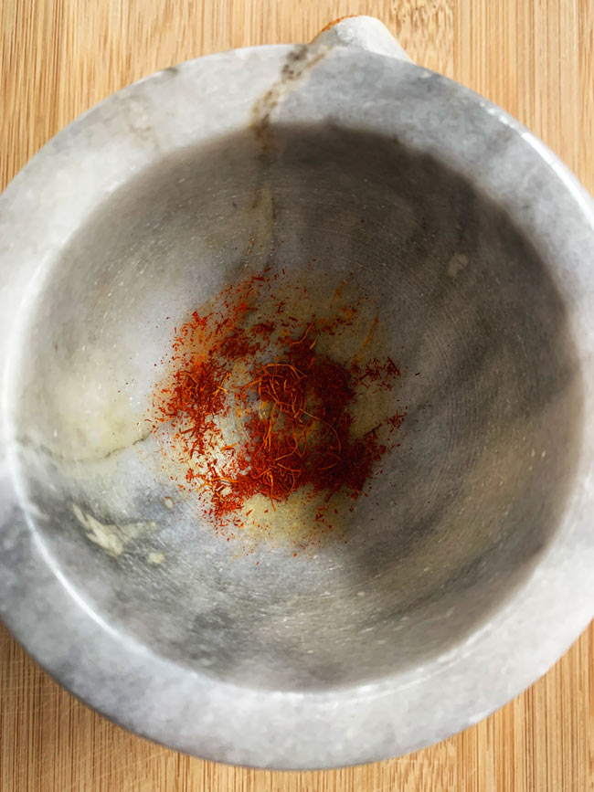 saffron smashed in mortar and pestle
