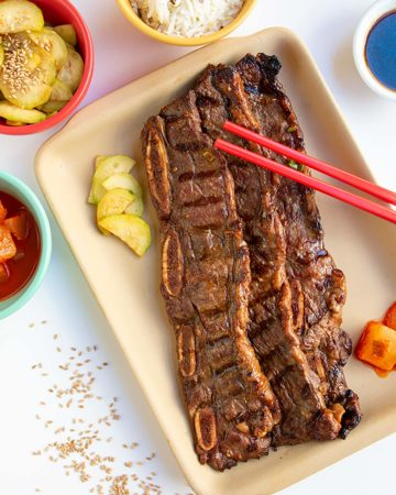 kalbi ribs with red chopticks