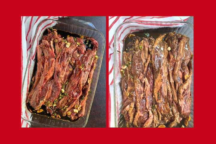 photo showing marinated ribs side by side to compare color at the beginning of marination and at the end