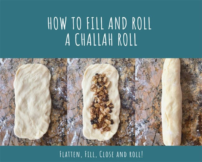3 photos showing how to fill and roll a challah roll
