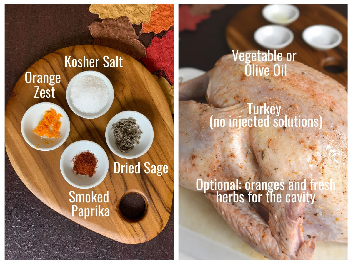 image showing all ingredients to dry brine and roast a turkey