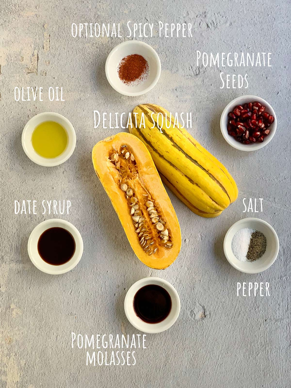 ingredients for recipe including a cut open delicata squash