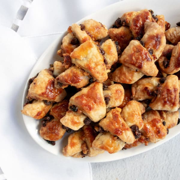 baked rugelach on a white plate