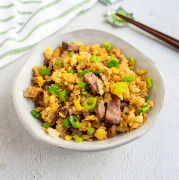 ready to eat bowl of leftover prime rib fried rice