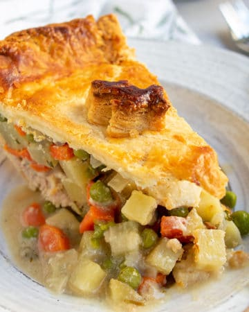 close up of single slice of turkey pot pie